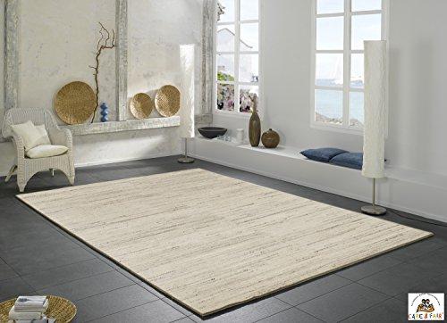 NAMIB UNI handgeknüpfter Nepal Teppich Wolle in h.grau-natur, Größe: 70×140 cm