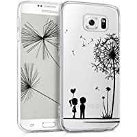 kwmobile Hülle für Samsung Galaxy S6 / S6 Duos - TPU Silikon Backcover Case Handy Schutzhülle - Cover klar Pusteblume Love Design Schwarz Transparent
