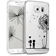 kwmobile Funda transparente para Samsung Galaxy S6 / S6 Duos con diseño IMD y marco de silicona TPU con parte trasera de plástico - funda blanda para móvil carcasa protectora bumper Diseño diente de león amor