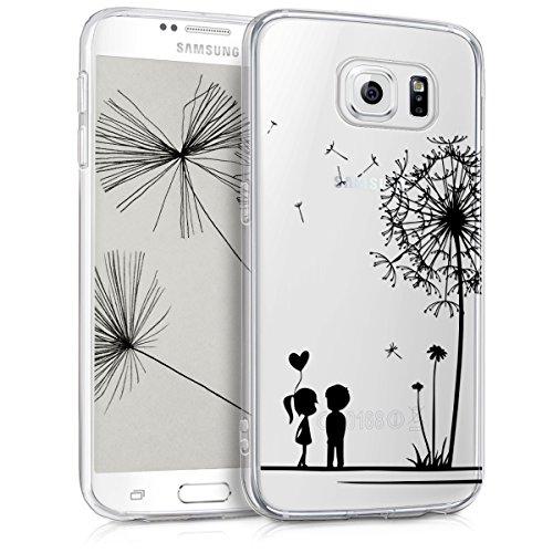 kwmobile Hülle für Samsung Galaxy S6/S6 Duos - TPU Silikon Backcover Case Handy Schutzhülle - Cover Klar Pusteblume Love Design Schwarz Transparent (Zuneigung Silikon)
