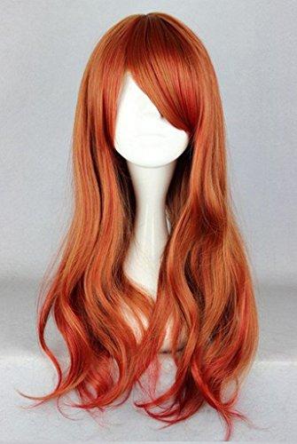Beauty Smooth Hair Frauen Lang Laenge Weinrot Haar Peruecke mit Voll Pony Cosplay COSL1020