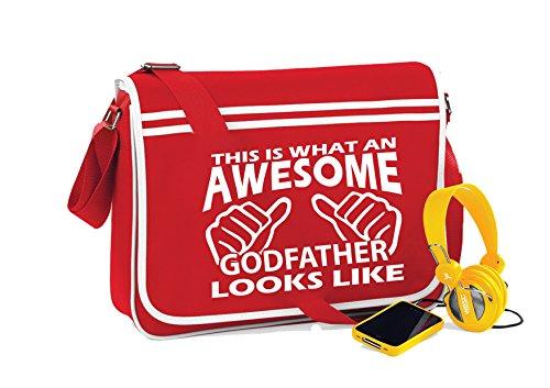 Awesome Godfather-Unisex-lustige Sprüche Neuheit Retro Messenger Bag- Kirschrot