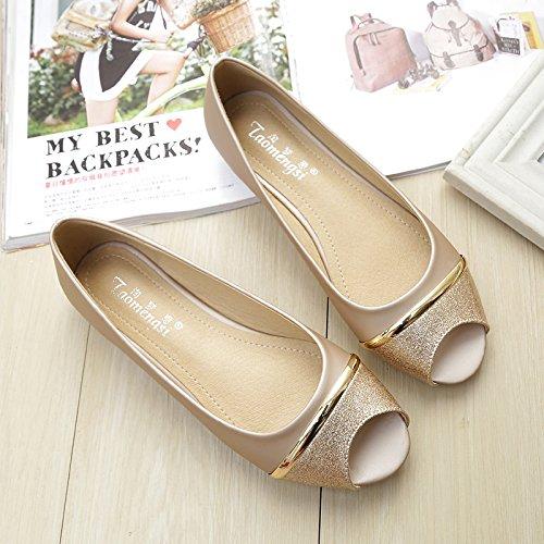 &qq Chaussures pour femmes, sandales, chaussures de poisson, ensembles plats de pieds 36