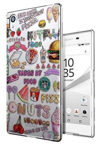Preisvergleich Produktbild c0289 - Cool Cute fun doodle school sketch illustration food trend donut unicorn junk food burger ice Design Sony Xperia M4 Aqua E2303-E2306-E2353 Fashion Trend Silikon Hülle Schutzhülle Schutzcase Gel Rubber Silicone Hülle