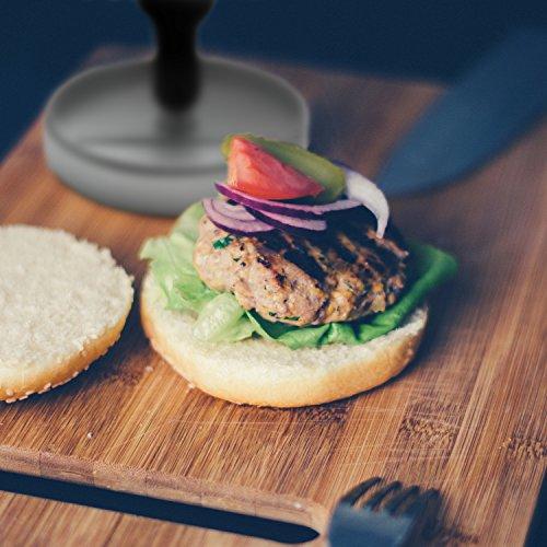 51Cdp4gfxxL - GOURMEO® Burgerpresse aus Aluguss mit Antihaftbeschichtung + 30 Blatt Antihaftpapier | 2 Jahre Zufriedenheitsgarantie | Hamburgerpresse, Hamburger-Presse, Burger Maker