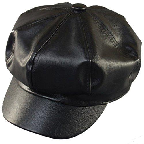 Belsen Damen England Retro Winter Leder Cap Baseball Barett Kappe Trucker Hat (Cap Running Leder)