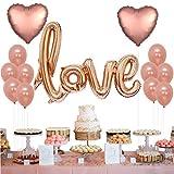 Tumao 13 Stück Rose Gold LOVE Luftballons Folienballon Herz Ballon Hochzeit Luftballons , Latex Party Ballon Hochzeit, Geburtstag, Brautdusche, Baby-Dusche, Party Dekoration, Valentinstag, Muttertag Dekoration,Abschlussball.