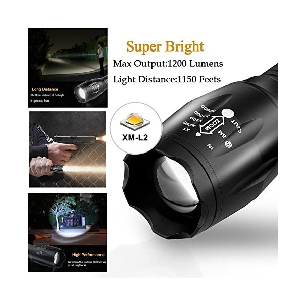 Ledeak Cree XML L2 LED Torch,1200 Lumens Adjustable Focus LED Flashlight 5 Modes Rainproof Handheld Torch Light for Indoor and Outdoor Hiking,Cycling,Camping 3