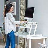RÜCKEN Stehpult | Höhenverstellbarer Sitz-Steh-Arbeitsstation | Schreibtisch für Desktop-Computer und Laptops (weiß)