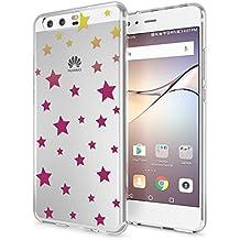 Huawei P10 Funda Carcasa de NALIA, Protectora Movil TPU Silicona Ultra-Fina Gel Transparente/Cubierta Goma Bumper Cover Case Cristal Clear para Telefono P-10 Phone, Designs:Stars