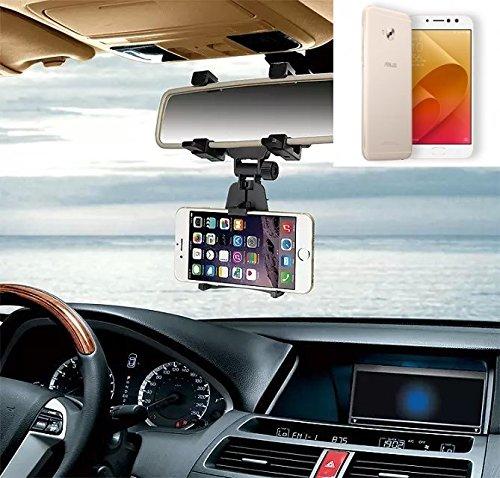 Per Asus ZenFone 4 Selfie Pro Supporto Smartphone specchietto retrovisore titolare monte auto Universal Porta Telefono Staffa Culla Cruscotto montaggio Holder per Asus ZenFone 4 Selfie Pro, nero - K-S-Trade(R)