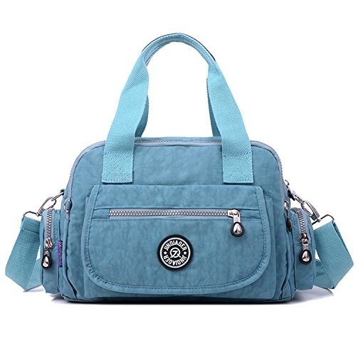 Outreo Handtasche Damen Umhängetasche Leichter Kuriertasche Mode Lässige Schultertasche Wasserdicht Taschen Designer Messenger Bag Reisetasche Blau 4