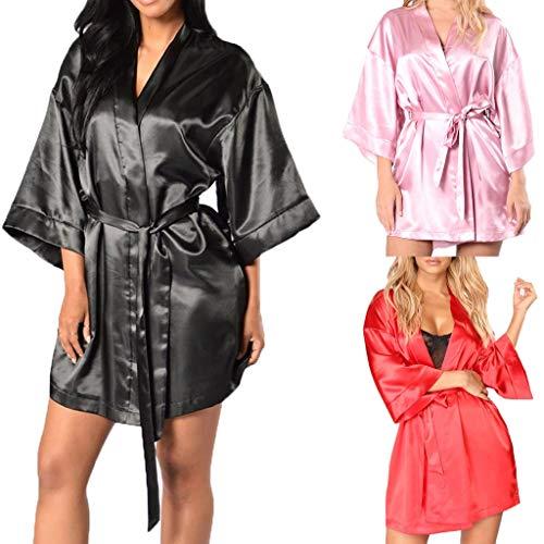 Broadwage Bademantel für Damen, Lose Kimono Seide Negligee - Damen Pyjama Robe Sleepwear Set mit Gürtel - Nachthemd Satin Morgenmantel Nachtwäsche - Damen Hautfreundlicher Saunamantel