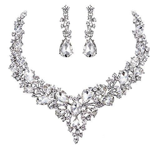 Clearine Damen Hochzeit Braut Österreichen Kristall Tropfen Cluster Statement Halskette Dangle Ohrringe Schmuck Set Klar Silber-Ton B