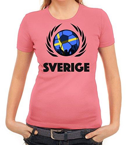 ShirtStreet Sverige Sweden Soccer Fussball WM Fanfest Gruppen Fan Wappen Damen T-Shirt Fußball Schweden Rosa