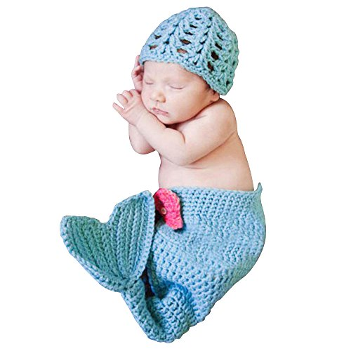 tte Mermaid Meerjungfrau Baby-Outfits Baby-FotografieDIY Props Newborn Handmade stricken Foto Outfits Knitting Kostuem Weiche entzueckende Kleider (Baby Mermaid Outfit)