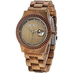 Alienwork Quartz Watch natural solid wood Wristwatch Handmade Green sandalwood green green UM064AL-01