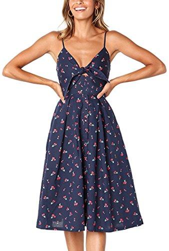 ECOWISH Damen V Ausschnitt A-linie Kleid Träger Rückenfreies kleider Sommerkleider Strandkleider Knielang Blau_Blumen XL