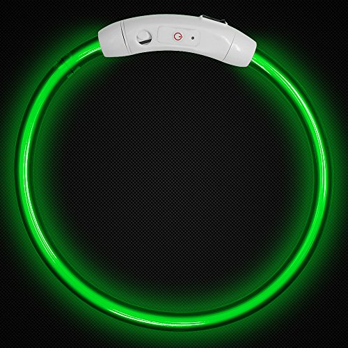 LED-Pet-Dog-Collar-MAXIN-Led-USB-Rechargeable-Pet-Safety-Collar-Waterproof-Light-up-Length-50cm-195in-Adjustable-Flashing-Collar-Green