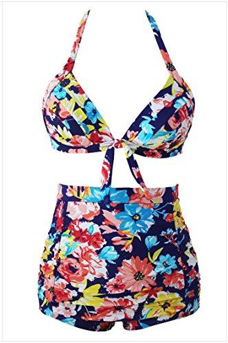 meinice Stampa Navy Retro vita alta 2pezzi Swimsuit Print Small