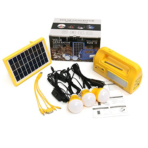 Tutoy 9V 3W Solar Panel Lighting Kit Solar Home Dc System Kit USB Solar Ladegerät mit 2W Glühbirnen - Gelb (Kit Home Panel Solar)