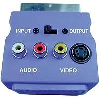 Blu con adattatore Scart Scart maschio / femmina, 3 Phono Sockets e SVHS Socket