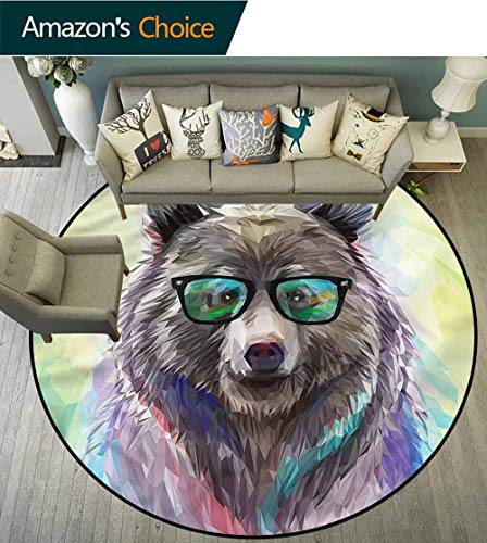 RUGSMAT Teppich, rund, für Katzen, Hund mit Eiscreme, rutschfest, für Kinderzimmer, Polyester-Mischgewebe, Style-08, - Hunde Biber Kostüm
