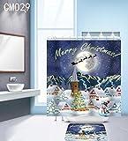 Aawang 3D Duschvorhang Polyester Hochwertige DIY-Weihnachts-Serie, Umweltschutz, Schimmelbeweis, Feuchtigkeitsfest, Wasserdicht Duschvorhang, Badezimmer Trennwand Vorhangstoff, Fenster Hängen Vorhang