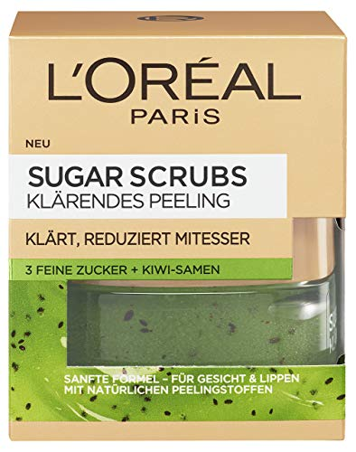 L'Oreal Paris Sugar Scrubs Klärendes Gesichtspeeling, mit Zucker und Kiwi-Samen, reduziert Poren und Mitesser, 50 ml -