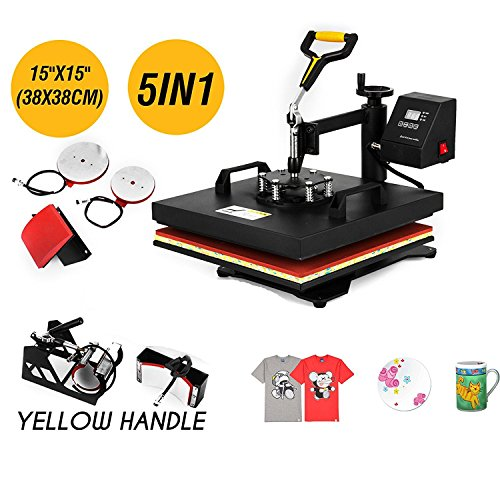 BananaB 5in1 Heißpresse Maschine 38x38cm Transferpresse 1450W Heat Press Machine hitzepressemaschine mit Elektronische Zeitregelung und Temperaturüberwachung Automatisch für DIY