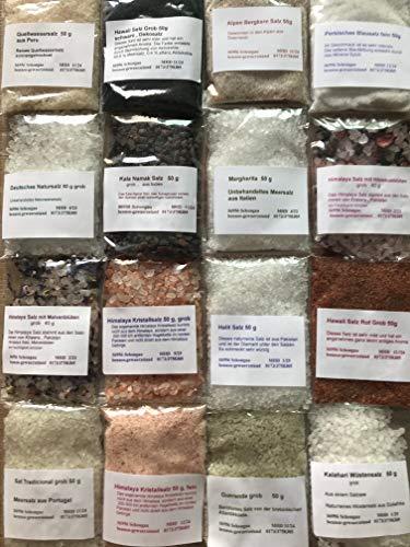 Salz Set 16 tlg, Hawaii Salz, Kala Namak, Blausalz,Sonnensalz, Halit Salz usw