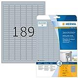 Herma 4220 Typenschild Etiketten silber wetterfest (25 x 10 mm auf DIN A4 Klebefolie matt) 4.725 Stück, 25 Blatt, bedruckbar, extrem stark selbstklebend