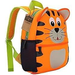 Mochila Teamen para niños con animal. Mochila escolar para niños de 2 a 6 años de edad, tigre