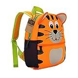 teamen - Zaino per bambini, per la scuola, con animali, età: 2-6 anni (tigre)