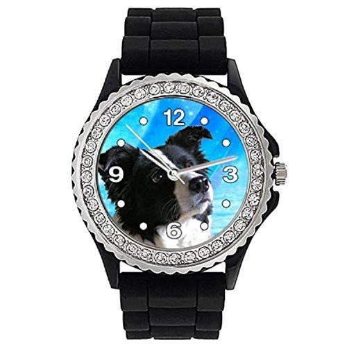 border-collie-donna-strass-orologio-con-bracciale-in-silicone-nero