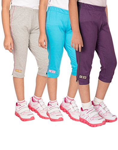 OCEAN RACE Girls Stylish attarctive colors Cotton Capris(3/4 th Pant)-Pack of 3-15187-6/7YRS