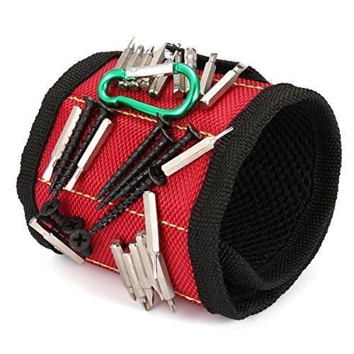 SAFETYON Magnetische Armbänder für Handwerker, Magnetisches Armband mit 10 Magneten und mit verstellbares Klettband, Magnetarmband für Werkzeug wie Nägel, Schrauben, Bohren Bits, rot