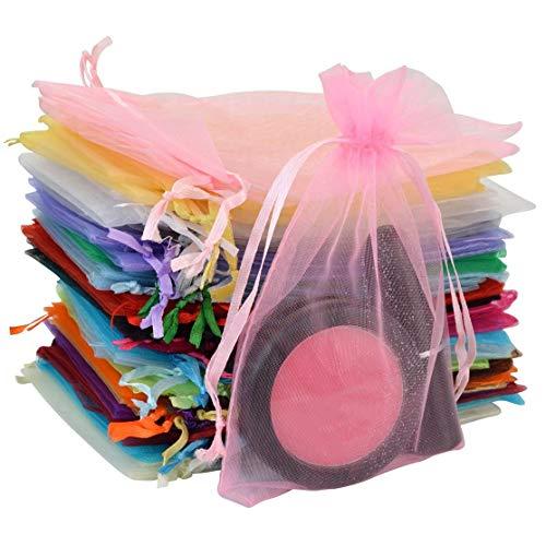 Pride Kings 100 Stück Organzabeutel | Organzasäckchen | Geschenkverpackung | Schmuckbeutel | in feinster Qualität | 10 x 1 x 15 cm | 20 verschiedenen Farben