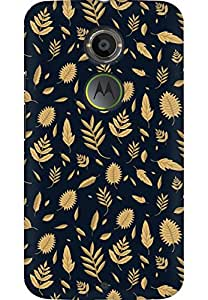 AMEZ designer printed 3d premium high quality back case cover printed hard case cover for Moto X 2nd Gen. (Beautiful Golden Leaf 1)