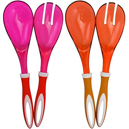 COM-FOUR® 4-teiliges Set Salatbesteck in orange und pink zum Servieren Ihrer köstlichen Salate (04-teilig - orange/pink)
