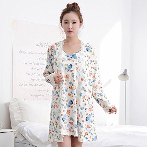Baumwoll-Pyjamas sexy Camisole Kleid Nachthemd 2 Stück Set Weiß