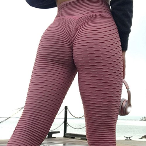Fuchsia Leggings (Duuozy Frauen Sexy Push Up Hip Sport Yoga Hose Dehnbar Skinny Hohen Taille Geraffte Butt Lifting Lange Workout Leggings Running Strumpfhosen,Fuchsia,S)
