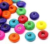 SiAura Material 2000 Stück Holzperlen 6mm mit 1,9mm Loch, Rund, Verschiedene Farben zum Basteln