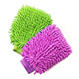 #10: Indion Pack of 2 Microfiber Dusting Cleaning Gloves Double-Sided For Home, Office, Kitchen, Dish, Car and Glass Wash Cleaning (Attractive Assorted Colours)