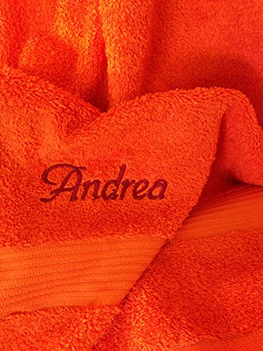 Duschtuch mit Namen oder Wunschbegriff bestickt, 70x140cm, Karminrot, Stickfarbe Bordeaux (Personalisierte Sport-geschenke)