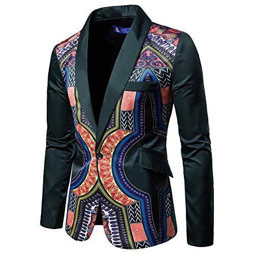 Herren Cardigan Coat,TWBB Afrikanischer Druck Jacket Pullover Persönlichkeit Herbst Winter Lange Ärmel Mantel Outwear Hemd