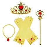 Vicloon Princess Dress Up Accessoires 4 Pcs Cadeau Set Couronne Beauté Sceptre Collier Gants pour Fille (Jaune) …