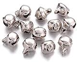 SiAura Material 100 Stück Metallperlen 6x8mm mit 1mm Loch, Glöckchen, Silberfarben Zum Basteln und Auffädeln