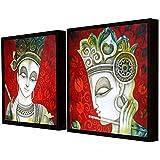 Art Street Sri Krishna Theme In Red Background Framed Canvas Painting Set Of 2 Wall Art Print -13x13 Inchs
