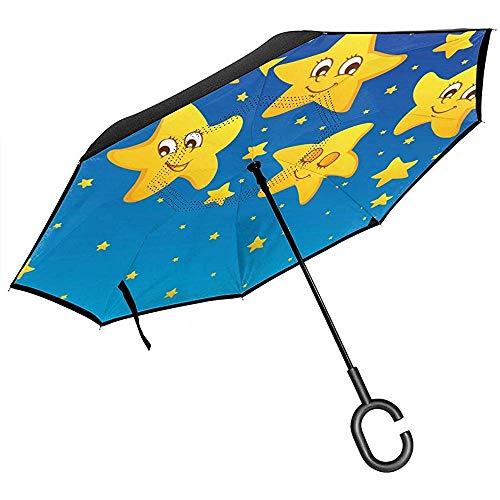 Merle House Himmel-gelber Stern-Smiley-Gesichts-Rückseiten-Regenschirm-Doppelschicht-umgekehrte Regenschirme für den Auto-Regen im Freien mit C-förmigem Griff